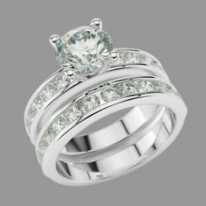 Elegant 1.75 CT Round Cut Diamond Bridal Set Wedding Ring 14K White Gold Plated
