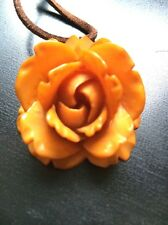 Amber Butterscotch Bakelite Deeply Carved Rose Flower Pendant Simichrome Tested