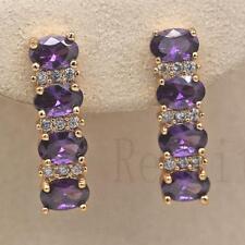 18K Gold Filled - Four Oval Amethyst Topaz Women Gemstone Wedding Hoop Earrings