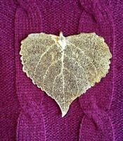 Large gold plated, dipped, natural real aspen leaf pendant, filigree ornament
