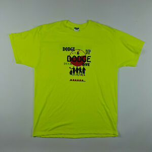 Vintage DodgeBall Mens Size XL The Intimidators Neon Green Graphic T Shirt Retro