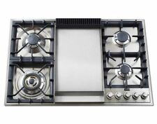 Ilve Uxlp90f 36 Pro Gas Cooktop 4 Burners Stainless Steel With Griddle