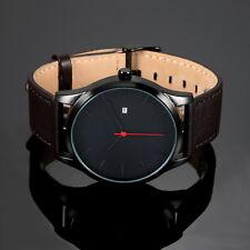 Men's Quartz Watch Leather Black Sport Date Analog Day Simple Darn Brown Fashion