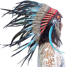 Feather Headdress- Native American Indian Style -ADJUSTABLE- Turquoise Rooster