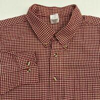 A&P Button Up Shirt Men's Size 2XL XXL Long Sleeve Maroon Tan Checkered Casual