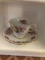 Colclough English Bone China Teacup and Saucer Tea Cup Spring Flowers Gold Trim