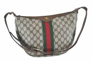 Auth GUCCI Web Sherry Line Shoulder Cross Body Bag GG PVC Leather Brown D3693