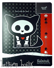 Goth : Grand Classeur Souple A4 Skelanimals Chat Kit NOIR & ROUGE gothique