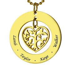 Herz Anhänger Kette Namenskette Gravur Namen Gold vergoldet Baum Familie Kinder
