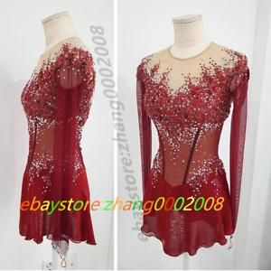 Shiny Ice Figure Skating Dress/Rhythmic Gymnastics Baton Twirling Dance Custom