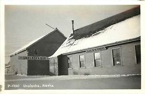 c1940 RPPC Postcard; Unalaska Bar, Pat's Store, P-1390 Unalaska AK Aleutians
