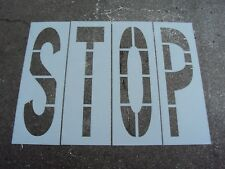 """48"""" STOP Stencil For a Parking Lot, 16"""" Wide,  Individual Letters, 1/16"""" LDPE"""