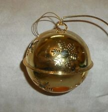 Gold Metal Snowflake Ball Shaped Christmas Holiday Ornament with Bell Inside