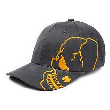Charcoal Gray & Orange Skull Skateboard Goth Biker Grey Cotton Baseball Cap Hat