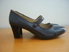 "WOMEN'S HUSH PUPPIES ""DALIA"" DARK MOCHA PATENT LEATHER HEEL SHOES - SIZE 6"
