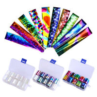 10pcs Holographic Nail Foil White Transparent AB Color Nail Art Transfer Sticker