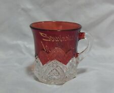 Souvenir Glass of Ireton Iowa Ruby Flashed Mug