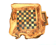 Chess set on olive wood [17 inches 43 cm] board with legs Chrismas gift original