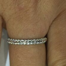 18k Solid White Gold Natural Diamond Band Ring Size 6.5 VS2