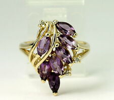 Natural Diamond & Marquise Amethyst Cluster 14k Yellow Gold Band Ring Size 5.5