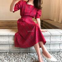 Korea Fashion Women Vintage Slimming Bows Check T-Shirt Tunic Shift Casual Dress