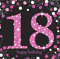 Pink Celebration 18th Birthday Luncheon Napkins 33cm - 16 pack