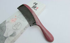 Nice 3-A1 QiaoYaTou Violet Wood Fine-Toothed Comb with Black Ox Horn Teeth