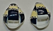 White Beige Black Enamel Rhinestones KNOT Shape Clip-On Earrings