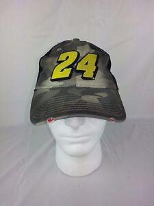 Nascar Jeff Gordon #24 Camo Black Mesh Hat Hendrick Motorsports Distressed Cap