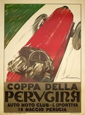 COPPA PERUGINA BY SENECA VINTAGE ITALIAN RACE POSTER ON LINEN 39X55 INCHES