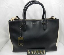 LAUREN Ralph Lauren Newbury Double Zip Satchel Black & Ivory $298