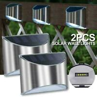 2pcs Solar Powered Wall Lights Outdoor Garden Fence Lights Lamp Step I3N8