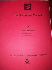VW THING Workshop Manual Fresh Air Heating Type F Model 181 & Type 2 Volkswagen