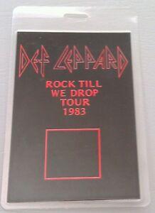 1983 DEF LEPPARD BACKSTAGE PASS BLACK SMALL ROCK TILL WE DROP TOUR