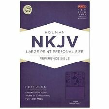 NKJV Large Print Personal Size Reference Bible, Purple LeatherTouch (2013,...