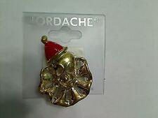 Jordache Goldtone Red Enamel Hat Clown Fashion Brooch