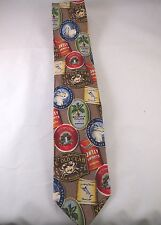 Tommy Bahama 100% SILK Tie Handmade Brown Novelty Ale Beer Label Tropical  F
