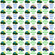 Personalised Gift Wrapping Paper TRACTORS Birthday Any Name! Large Sheet! TB1