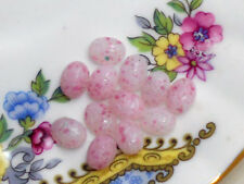 #507A Vintage Glass Cabochons Scarabs Dome Pink 6x8mm Oval  NOS Flat Bottom
