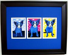 "GEORGE RODRIGUE BLUE DOG CLOUDS NOTE CARD TRIO - FRAMED - 16"" x 13"""