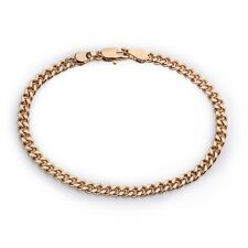 22K Yellow Gold GP Curb Chain Link Bracelet 4mm L25