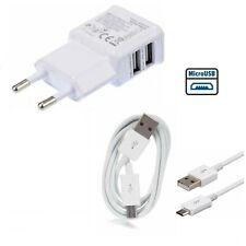 CARICA BATTERIE VELOCE 2A per SAMSUNG E Android 2 ENTRATE USB + CAVO MICRO USB
