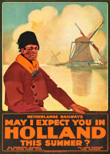 Holland for the Summer, 1925, Reproduction Vintage Art Deco Travel Poster