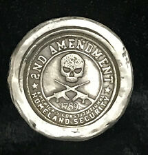 "1 Oz  MK BarZ  ""Homeland Security-2nd Amendment Rights"" Stamped .999 FS Round"