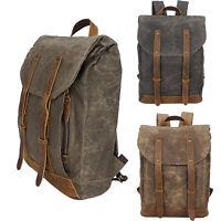 """Men's Oil Wax Canvas Backpack Handbag 14""""Laptop Bag Schoolbag Travel Bag Vintage"""