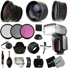 Xtech Kit for Canon EOS Rebel 650D Ultimate 58mm FishEye 3 Lens w/ Flash +
