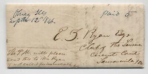 1846 Olney IL manuscript stampless folded letter [50806.757[