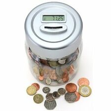 UK Pound Coin Counting Money Jar Piggy Bank Saving Safe Box with Digital Display