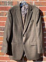 Lauren Ralph Lauren Blazer Brown Check Mens Sport Coat Jacket Size 40L