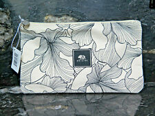 Black & White Floral Origins Cosmetics Bag Printed Zipper Envelope Canvas New So